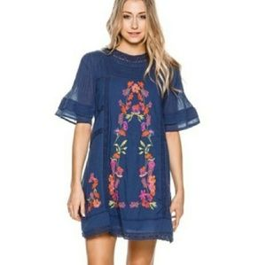 Free People Perfectly Victorian Navy Dress